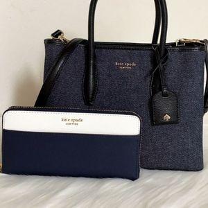 ⚜Kate Spade Eva Denim Zip Top Satchel +wallet